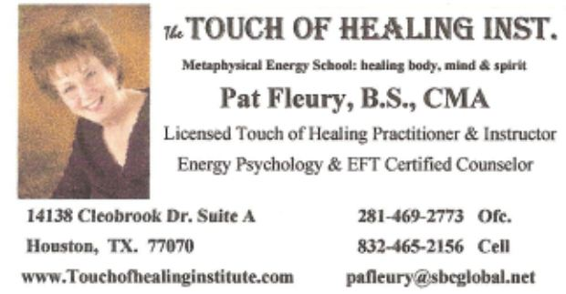 The Touch of Healing Institute; Licensed & Accredited by the Federation of Spiritual Healers